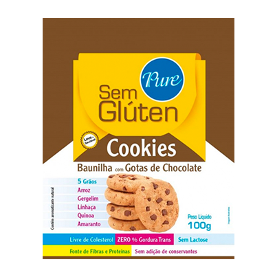 Cookies sem glúten e sem lactose 5 grãos baunilha com gotas de chocolate pacote 100g Pure s/ Glúten UN