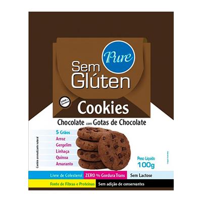 Cookies sem glúten e sem lactose 5 grãos chocolate com gotas de chocolate 100g Pure s/ Glúten pacote UN
