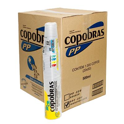 Copo descartável 500ml branco 50 unidades Copobras pacote PCT