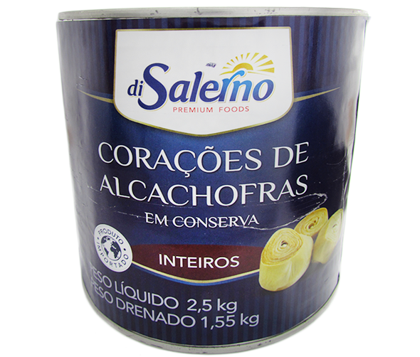 Coração de alcachofra inteiro ao natural 2,5kg Di Salerno lata UN