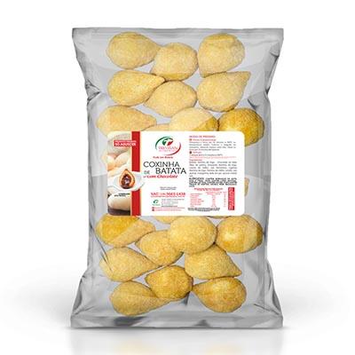 Coxinha de chocolate com massa de batata congelada 25g por kg Trevisan pacote KG
