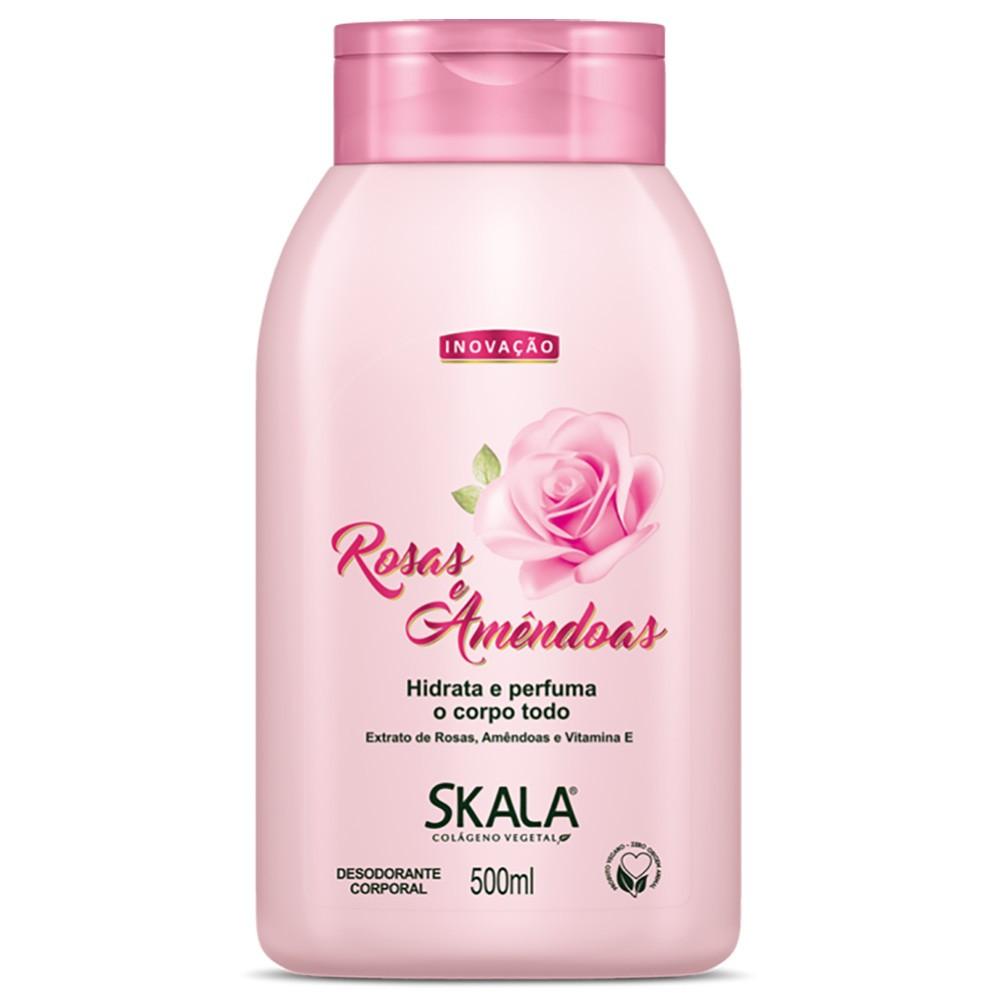 Creme Corporal Loção Hidratante Rosas Amêndoas 500ml Skala  UN