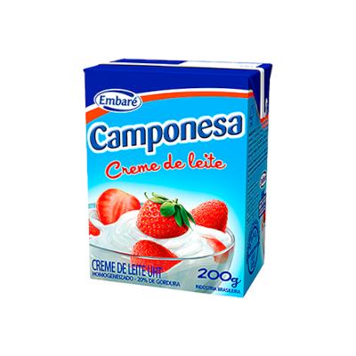 Creme de leite 17% de gordura 200g Embaré/Camponesa Tetra Pak UN