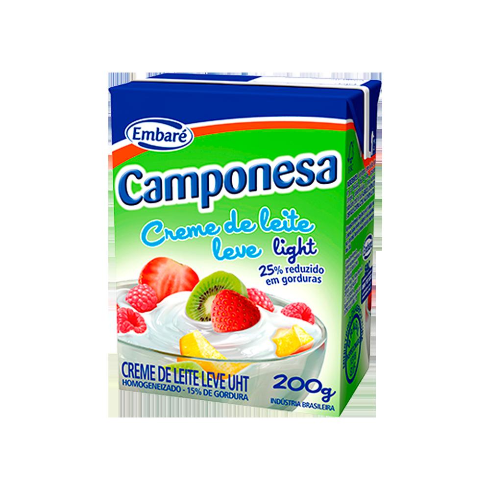 Creme de leite light 15% de gordura 200g Embaré/Camponesa Tetra Pak UN