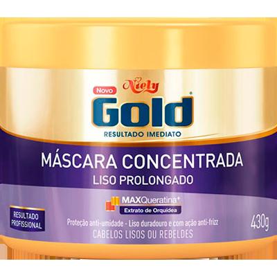 Creme de Tratamento de Cabelos Liso Prolongado 430g Niely Gold pote POTE