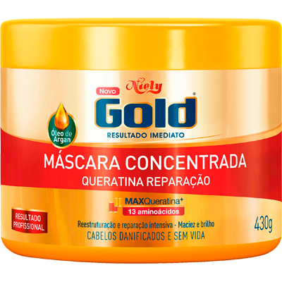 Creme de Tratamento de Cabelos Queratina pote 430g Niely Gold POTE