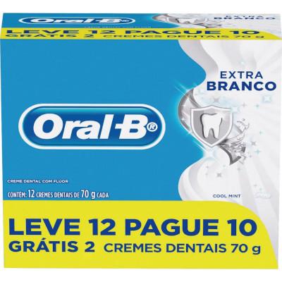 Creme Dental extra branco Leve 12 Pague 10 12 unidades de 70g Oral-B pacote PCT