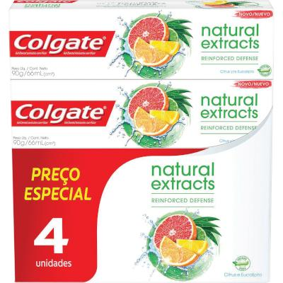 Creme Dental extracts reinforced defense 4 unidades de 90g Colgate Naturals kit UN