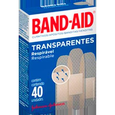 Curativos Adesivos Transparentes 40 unidades Band-Aid caixa CX
