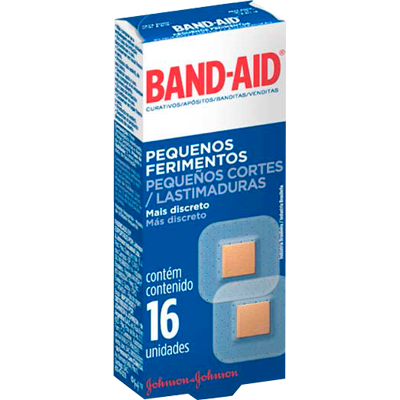 Curativos Adesivos Transparentes Pequenos Ferimentos 16 unidades Band-Aid caixa CX