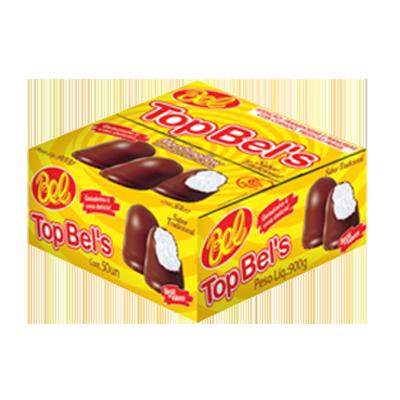 Doce de marshmallow recheio tradicional e cobertura de chocolate caixa 50 unidades Top Bells CX