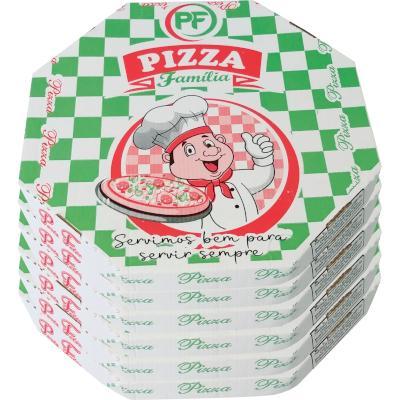Embalagem para pizza oitavada 35cm estampada 25 unidades Porto Feliz pacote PCT