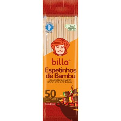 Espeto de bambu 25cm x 4mm unidade Billa UN