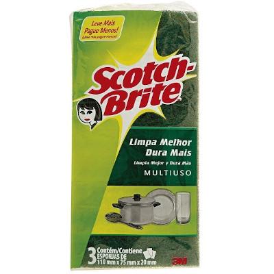 Esponja de limpeza dupla face 75x110mm 3 unidades Scotch Brite pacote PCT