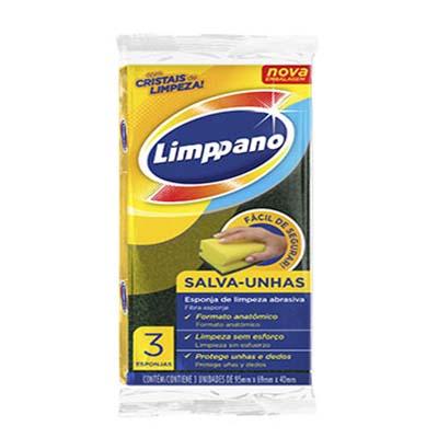 Esponja de limpeza multiuso salva unhas 3 unidades Limppano pacote PCT