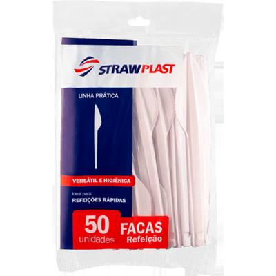 Faca descartável refeição cristal 50 unidades Strawplast pacote PCT