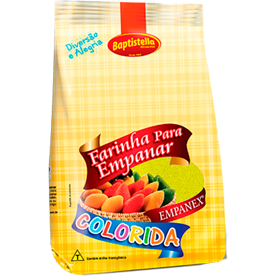 Farinha de empanar colorida amarela 800g Empanex/Baptistella pacote PCT