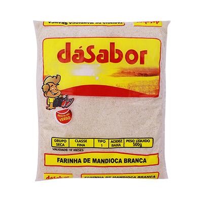 Farinha de mandioca crua e fina pacote 500g DáSabor PCT