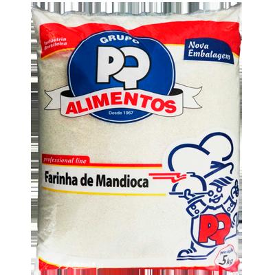 Farinha de mandioca crua e fina pacote 5kg PQ Alimentos PCT