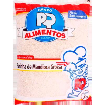 Farinha de mandioca crua e grossa 3kg PQ Alimentos pacote PCT