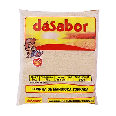 Farinha de mandioca torrada 500g DáSabor pacote PCT