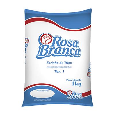 Farinha de trigo  1kg Rosa Branca pacote PCT