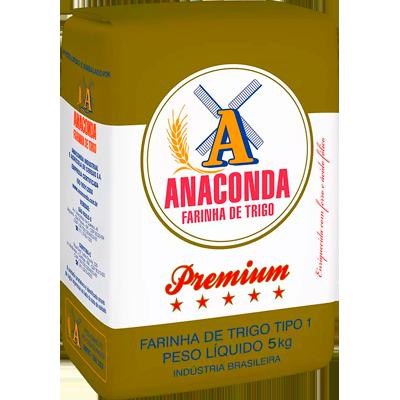 Farinha de trigo premium 5kg Anaconda pacote PCT