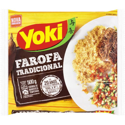 Farofa de mandioca temperada 500g Yoki pacote UN
