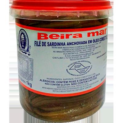 Filé de Sardinha anchovada balde por Kg Beira Mar KG