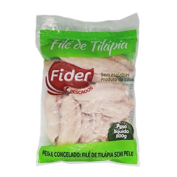Filé de Tilápia congelado 800g Fider pacote PCT