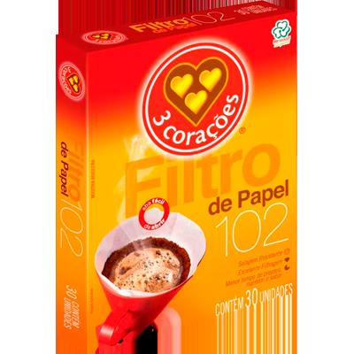 Filtro de café de papel n°102 30 unidades 3 Corações caixa UN