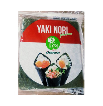 Folhas de Alga Nori utilizadas no Temaki, Makizushi 50 folhas Benassi pacote PCT