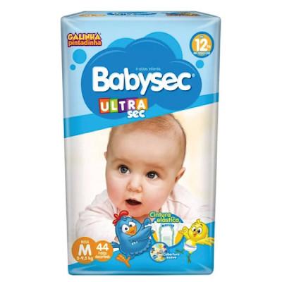 Fraldas Descartáveis Infantil tamanho M 44 unidades Babysec pacote PCT