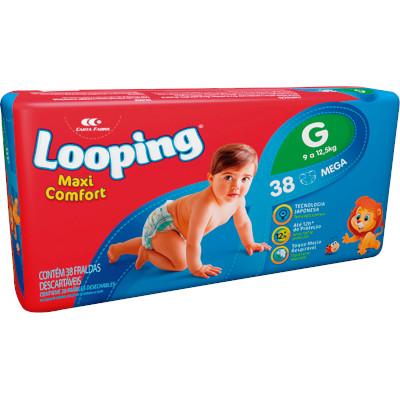 Fraldas Descartáveis tamanho G mega 38 unidades Looping pacote PCT
