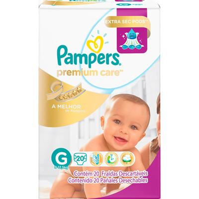 Fraldas Descartáveis tamanho G pacote 20 unidades Pampers Premium Care PCT