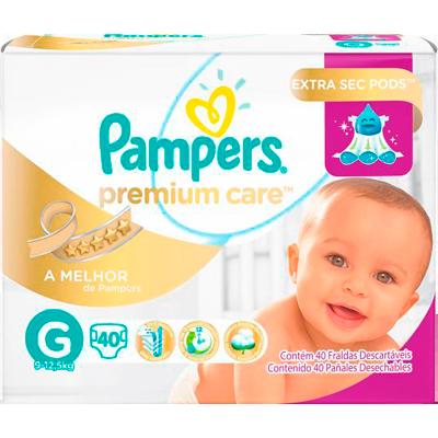 Fraldas Descartáveis tamanho G 40 unidades Pampers Premium Care pacote PCT