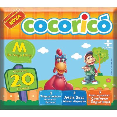 Fraldas Descartáveis tamanho M 20 unidades Cocoricó pacote PCT