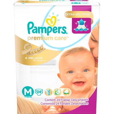 Fraldas Descartáveis tamanho M 24 unidades Pampers Premium Care pacote PCT
