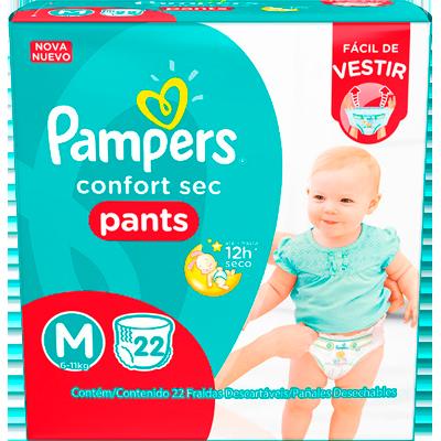 Fraldas Descartáveis tamanho M Pants pacote 22 unidades Pampers Confort Sec PCT
