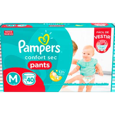 Fraldas Descartáveis tamanho M Pants 40 unidades Pampers Confort Sec pacote PCT