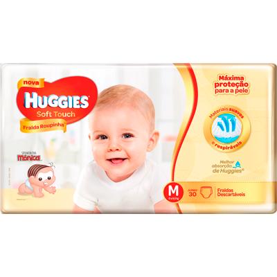 Fraldas Descartáveis tamanho M Soft Touch pacote 30 unidades Huggies PCT