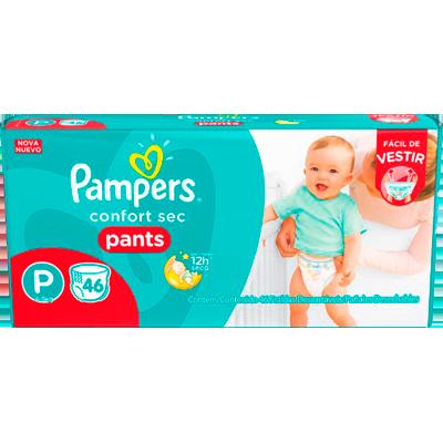 Fraldas Descartáveis tamanho P Pants 46 unidades Pampers Confort Sec pacote PCT