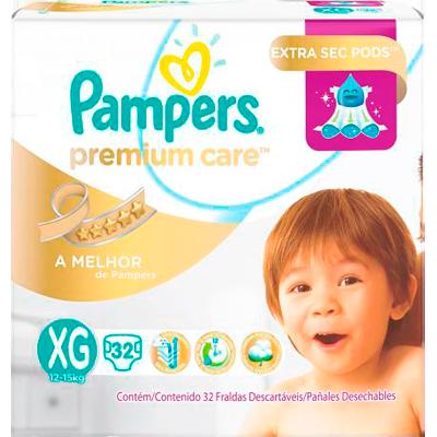 Fraldas Descartáveis tamanho XG 32 unidades Pampers Premium Care pacote PCT