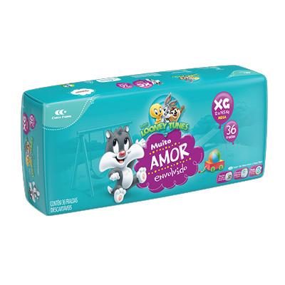 Fraldas Descartáveis tamanho XG 36 unidades Looney Tunes pacote PCT