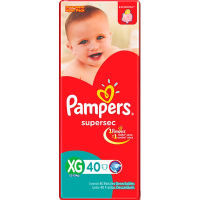 Fraldas Descartáveis tamanho XG pacote 40 unidades Pampers  Supersec PCT