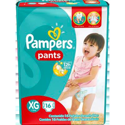 Fraldas Descartáveis tamanho XG Pants pacote 16 unidades Pampers Confort Sec PCT