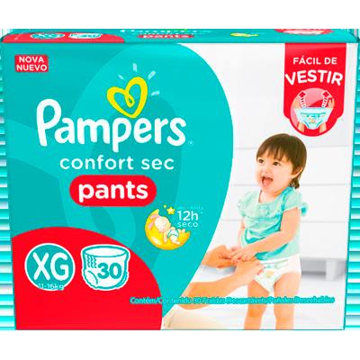 Fraldas Descartáveis tamanho XG Pants 30 unidades Pampers Confort Sec pacote PCT