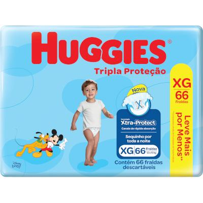 Fraldas Descartáveis tamanho XG Tripla Proteção Hiper 66 unidades Huggies pacote PCT