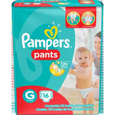 Fraldas Descartáveis tamanho XXG Pants 16 unidades Pampers Confort Sec pacote PCT