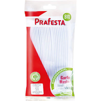 Garfo descartável master branco 50 unidades Prafesta pacote PCT